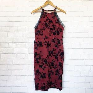 Trixxi Red & Black Flocked Rose Sexy Dress